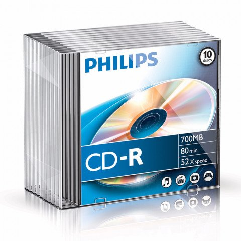 Philips CD-R 700MB 52xspeed slim case 10 stuks