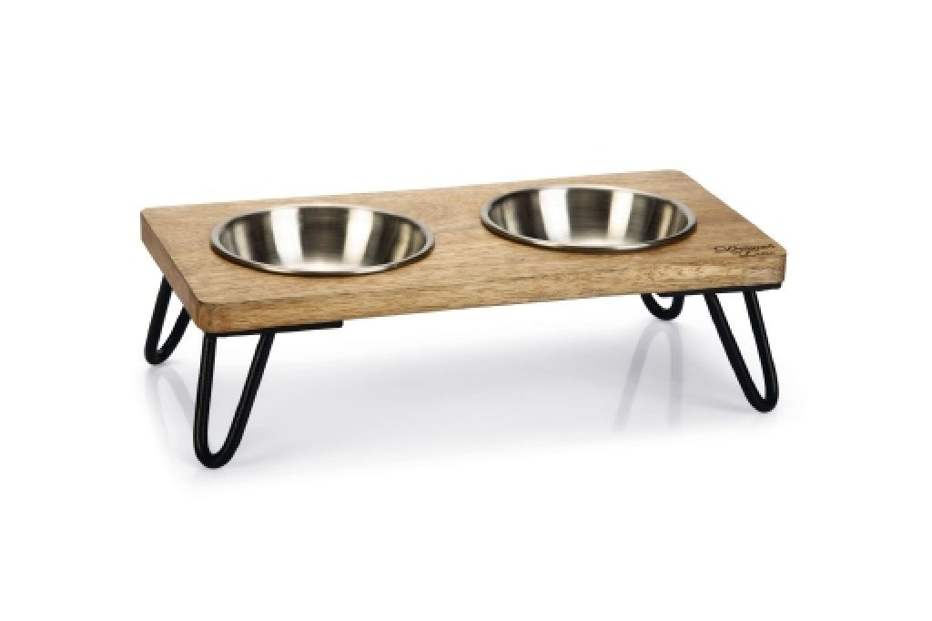 Designed by Lotte dinerset Linga - Kat - Hout/metaal - incl. 2 bakjes - 31x16x10