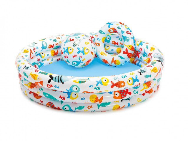 FISHBOWL POOL SET (59431NP. 20 Ball. 20 Ring). Ages 2+