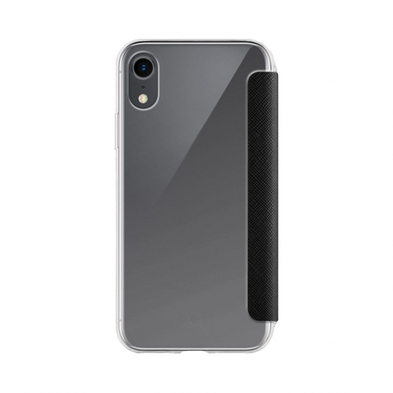 XQISIT Flap Cover Adour for iPhone XR clear/black