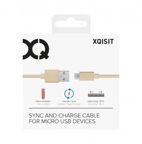 XQISIT Cotton Cable microUSB to USB A 180cm gold colored
