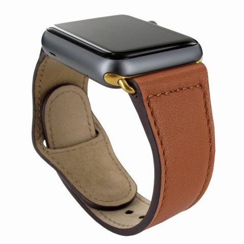Piel Frama Watch Leather Strap 42mm Tan Gold