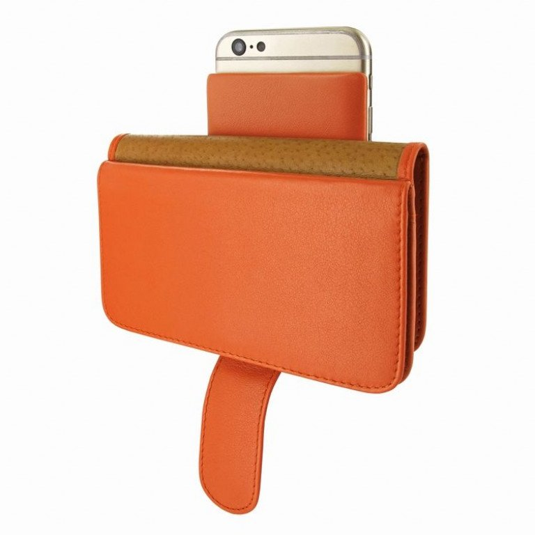 Piel Frama iPhone 6/6S Wallet Swarovski Orange