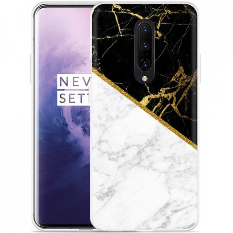OnePlus 7 Pro Hoesje Black-white-gold Marble