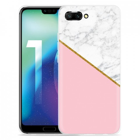 Huawei Honor 10 Hoesje Pink-gold-white Marble