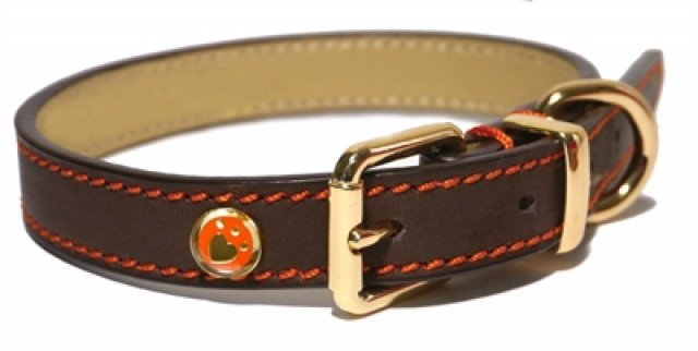 Luxury Leather Halsband Hond Leer Luxe Bruin 1.3X25-36 Cm